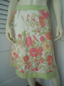 Ann Taylor LOFT Petites 8p Linen Floral Print Banded Hem Waist Chic Skirt Muted Rose, Yellow, Orange, Green on Cream