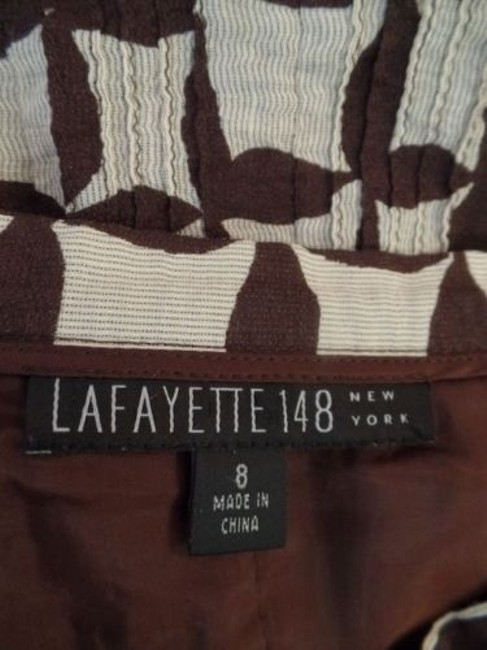 Lafayette 148 New York Ny Cotton Silk Textured Blend Pintuck Pleats Hot Skirt Brown Tan