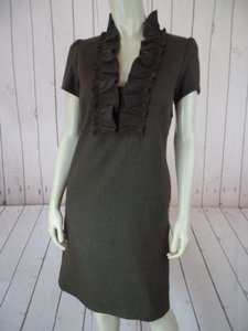 J.Crew short dress Army Green Heather Wool Poly Stretch Blend Ruffle Shift So Chic on Tradesy