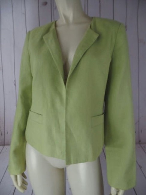 Talbots Talbots Irish Linen Blazer Lime Open Front Slight Padded Shoulders Classy