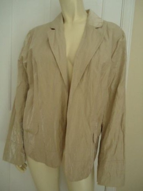 Chico's Chicos Blazer Cotton Nylon Gold Shimmer Crinkle Coat Lined Open Front Chic