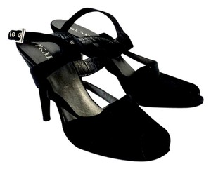 Prada Black Strappy Cut Out Toe Toe Heels Heels Sandals
