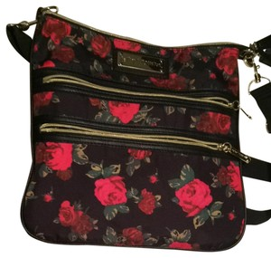 Betsey Johnson Satchel in Multi Black And Red Roses