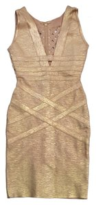 Hervé Leger short dress Metallic Sleeveless Bodycon on Tradesy