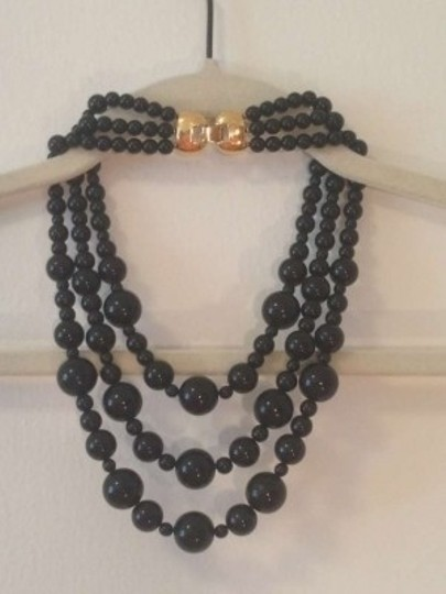 MONET MONET Vintage 3 String Black Bead Necklace w/ Bow Hardware