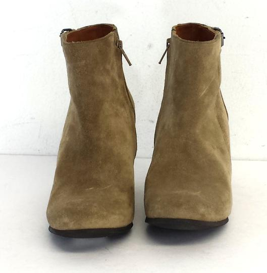 Lanvin Tan Suede Wedge Boots