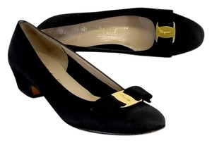 Salvatore Ferragamo Vara Black Suede Pumps