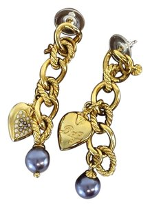 Dolce&Gabbana Gold Heart & Pearl Earrings