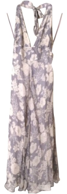 Item - Gray/White Silk Mid-length Casual Maxi Dress Size 8 (M)