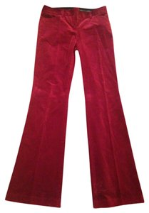 Express Velvet Boot Cut Pants Red