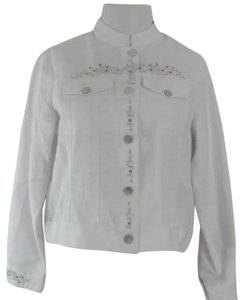 Linen White Womens Jean Jacket