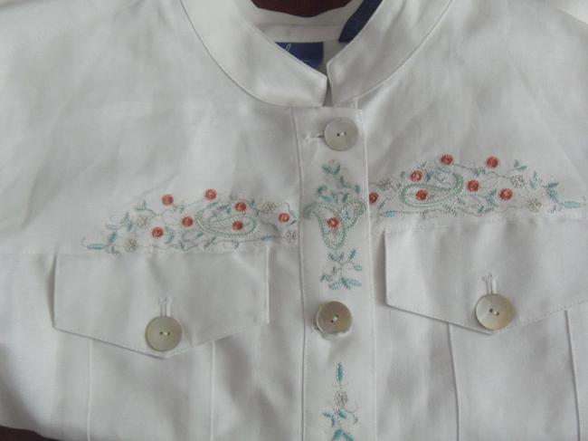 Other Linen Jean Style Size L J.h. Collectibles Embroidered White Womens Jean Jacket