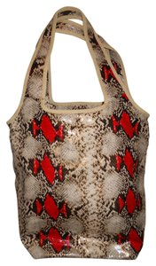 Este Lauder Snakeskin Tote in brown, black, tan & red python print