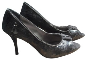 Beverly Feldman New Peep Toe Sequins Formal Sparkle Size 6.5 Black Pumps