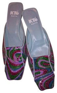 Kte Keyte (Italy) Beaded Leather Multicolor Mules
