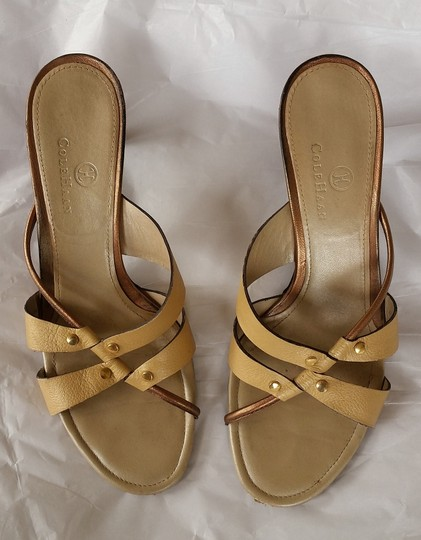 Cole Haan Leather Strappy Slides Beige Sandals