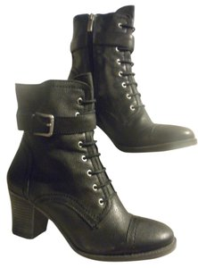 Tignanello Buckle Lace Up Leather black Boots