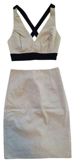 Item - Nude & Black Knee Length Night Out Dress Size 4 (S)