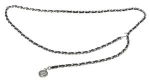 Chanel Chanel Silver and Black Chain Leather CC Coin Belt