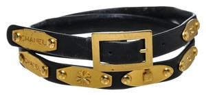 Chanel Chanel Black Leather and Gold Plate 95A Skinny Belt (Size 30)