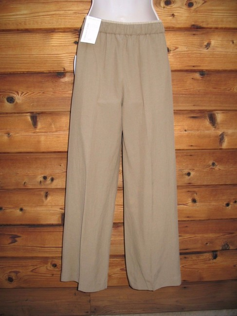 Coldwater Creek Silk Linen Elastic Wide Leg Pants Khaki