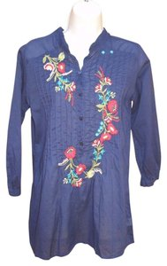 Johnny Was Embroidered Boho Tunic Floral Cotton Top Blue