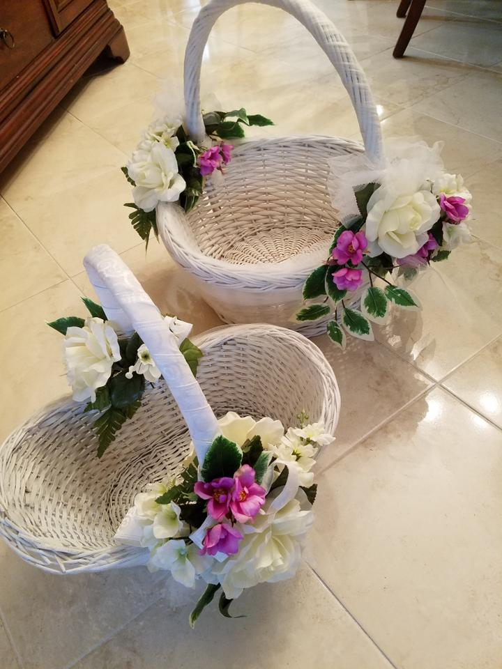 White and Orchids Color Wicker Baskets Ceremony Decoration - Tradesy