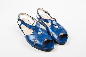 Salvatore Ferragamo Navy Leather Criss Cross Peep Toe Slingback Blue Sandals