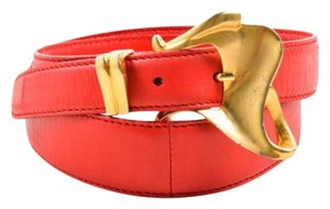 Donna Karan Donna Karan Red Gold Tone Leather Statement Buckle Belt