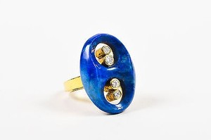 Other Vintage 18k Yellow Gold Diamond Lapis Cut Out Oval Ring