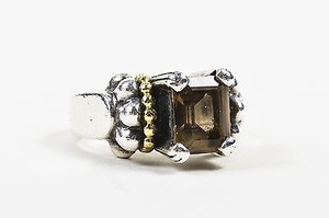 Lagos Lagos Caviar Sterling Silver 18k Yellow Gold Smoky Quartz Glacier Ring