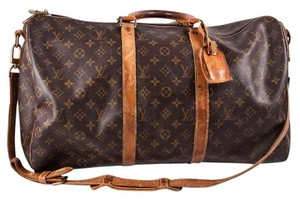 Louis Vuitton Leather Coated Canvas Monogram Brown Travel Bag