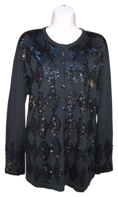 Collection Sweater M Sequined Diamond Slinky Knit Cardigan #14193901 - Cardigans
