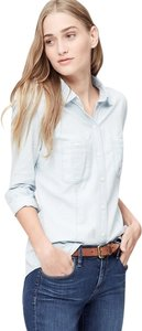 Ann Taylor LOFT Button Down Shirt Ice Blue Chambray