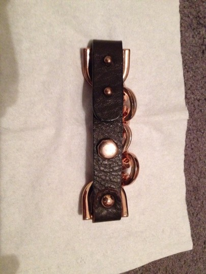 Other Brown Leather And Rose Tone Bracelet