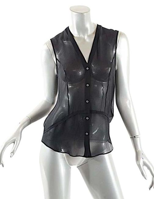 Helmut Lang Black Silk Georgette Button Down Sheer Blouse Tank Top/Cami Size 4 (S) Image 0
