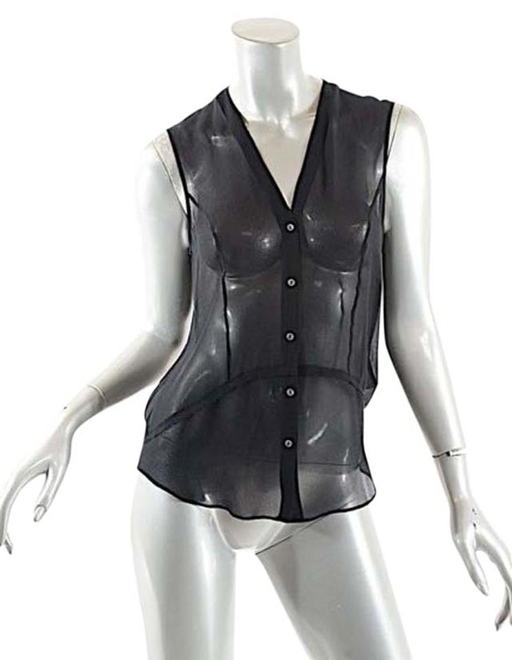 b6940b842b812 Helmut Lang Black Silk Georgette Button Down Sheer Blouse Tank Top Cami