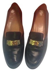 Hermès Loafers Leather Gold Kelly Buckle Black Flats