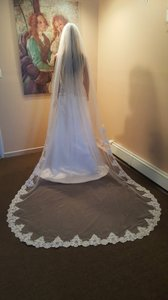 Bridal Cathedral Lace Veil 1 Tier Pearls Light Ivory