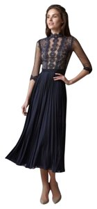 Catherine Deane Pleated Sheer Lace Dress