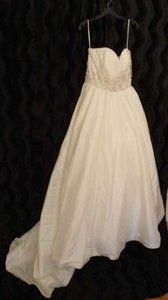 Mori Lee Ivory/Silver Luxe Taffeta Style # 4963 Traditional Wedding Dress Size 10 (M)