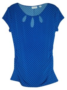 New York & Company Dot Night Out Top Royal Blue w/ Black Polka Dots