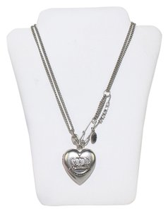 Juicy Couture Heart Charm Necklace Mirror Pendant Rolo Chain