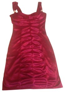 LOVE TEASE Rhinestones Dark Pink Burgundy Dress
