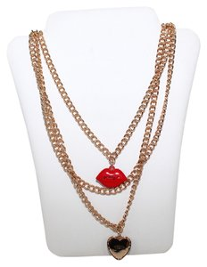 Juicy Couture Heart & Lips Charm Necklace