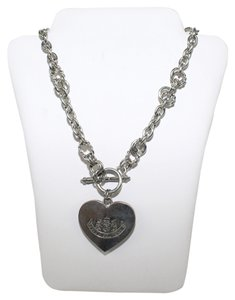 Juicy Couture Heart Silver & Wood Charm Necklace