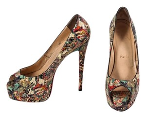 Christian Louboutin Python Peep Toe Multicolor Platforms