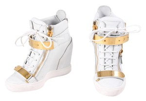 Giuseppe Zanotti High Street Leather Sneakers White Wedges