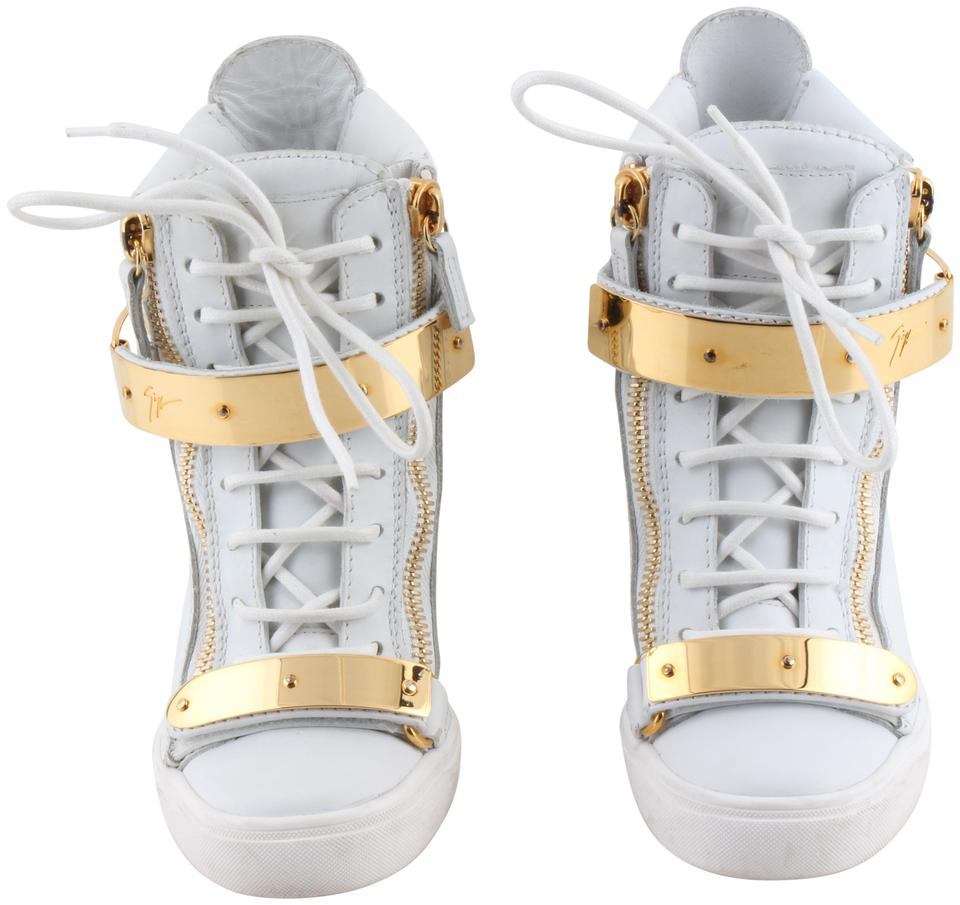 fddd7a2748d16 Giuseppe Zanotti White High-top Leather Sneakers Wedges Size US 6.5 ...