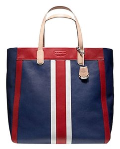 Coach Weekend Beach Tote in red, white, blue